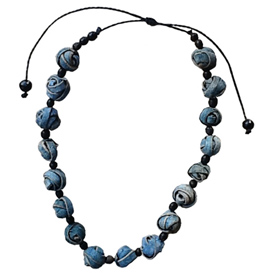 Blue Knot Orange Peel Necklace handmade by artisans in Colombia Necklace - 13 1/2'' maximum length