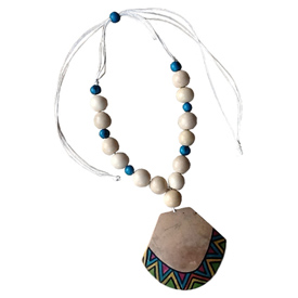 Natural Tribal Gourd Pendant with Natural Chicon and Teal Acai Seeds Crafted by Artisans in Colombia Pendant Measures 2 7/8'' h x 3 1/4'' w Adjustable Cord Measures 5 1/4'' drop to 14 1/2''