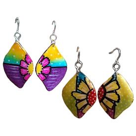 Flower Gourd Earrings - Purple/Blue or Yellow/Green Tone Crafted by Artisans in Colombia Pendants Measure - 2 3/4'' h x 1 1/4'' w Earrings Measure - 2 3/8'' drop