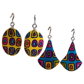 Abstract Gourd Earrings - Oval or Drop Crafted by Artisans in Colombia Pendants Measure -  1 7/8'' h x 1 1/8'' w Earrings Measure - 2 1/2'' drop