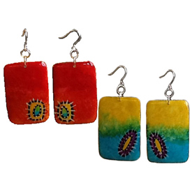 Rectangular Gourd Earrings - Red/Orange-Blue/Yellow  Crafted by Artisans in Colombia Pendants Measure -  1 5/8'' h x 1'' w Earrings Measure - 2 3/8'' drop