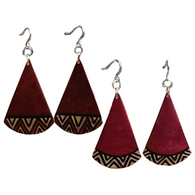 Gourd Drop Earrings - Tribal Designs Crafted by Artisans in Colombia Earrings Measure 2'' h  x 1 1/4'' w with 2 3/4'' drop