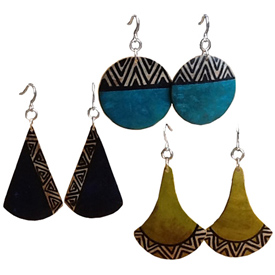 Gourd Tribal  Earrings Crafted by Artisans in Colombia