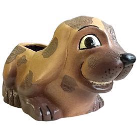 Brown Ceramic Dog Planter from Bolivia Planter Measures - 5 1/2'' high x 6'' wide x 11'' deep, opening - 3 7/8'' x 2 1/8'' x 2 1/2'' deep
