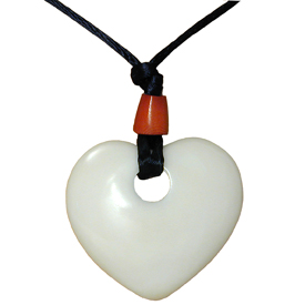 Tagua Heart Pendant - Carved by Artisans of Ecuador   Measures: 1-1/2 x 1-1/2 and 18 long