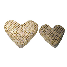 Woven Heart Baskets Crafted by Artisans in Haiti  Large Basket - 14 3/8'' high x 15 5/8'' wide x 1 5/8'' deep<br/ width=275 >Medium Basket - 10 5/8'' high x 2 1/8'' wide