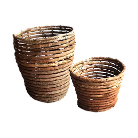 Vine Planters Crafted by Artisans in Haiti  Large Planter - 8 1/2'' high x 6 3/4' wide<br/ width=275 >Medium Planter - 5'' high x 6 1/8'' wide
