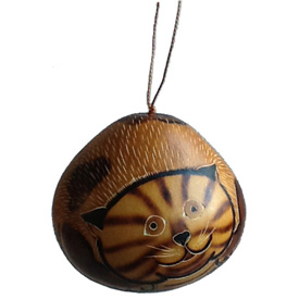 "Tiger Cat Gourd Ornament crafted by Artisans in Peru  Measures 3 1/8"" high x 3 1/8"" diameter"