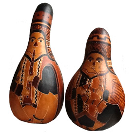 """Large Flute and Horn Musician Gourds  crafted by Artisans in Peru  Large Measures 9"""" high x 5"""" diameter Size will vary due to a natural product"""