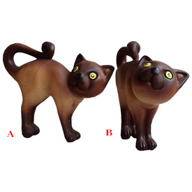 Ceramic Cats (A) Head Forward, (B) Head Turned from Bolivia Measures - 7 1/4'' high x 3 5/8'' wide x 9'' deep