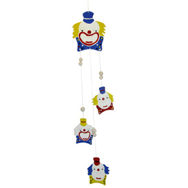 Ceramic Clown Wind Chime from Bolivia Measures - 27'' long x 4 1/2'' wide x 1/8'' deep