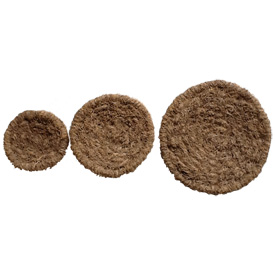 Round Vetiver Plates Small, Medium, Large Crafted by Artisans in Haiti  Small Measures - 3'' high x 16 1/2'' wide Medium Measures - 3'' high x 11 1/2'' wide Large Measures - 3'' high x 8 1/2'' wide