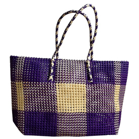 """Extra Large Purple Tote  Crafted by Artisans in India  Measures 14"""" high and is 16"""" wide x 6-1/2"""" deep at the base"""