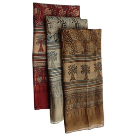 """Tree Block Print Cotton Scarf Blue, Brown, Burgundy Crafted by Artisans in India Measures 72"""" long x 22"""" wide"""