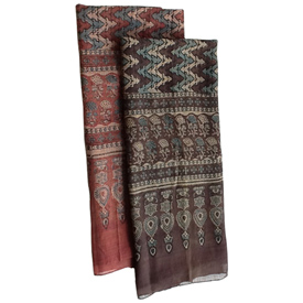 """ZigZag Block Print Cotton Scarf Black, Burgundy Crafted by Artisans in India Measures 72"""" long x 22"""" wide"""