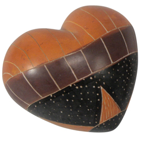 Star Tribal Soapstone Heart  Crafted by Artisans in Kenya  Available in Large