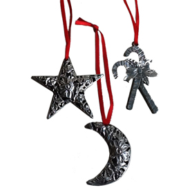 Pewter Ornaments handmade in Bolivia Average Measure of 3 x 3