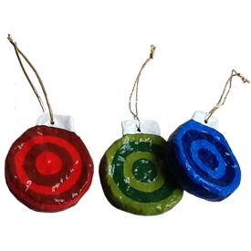 Round Disc Papermache Ornaments from El Salvador Ornament Measures - 2 1/2 high x 2 1/8 wide x 1/2 thick