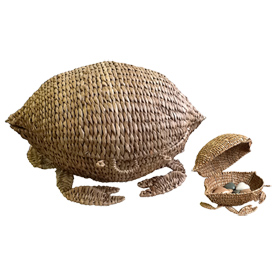Crab Basket made of natural fibers Handmade in the Philippines by Artisans of Disenio de Craftico Crab measures - 10 1/4'' high x 19'' wide x 14'' deep
