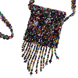 Glass Beaded Pouch from Guatemala Pouch Measures - 2 1/4 long x 1 7/8 wide Strap drop - 12