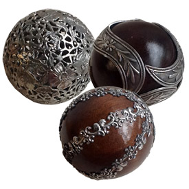 Wood and Pewter Spheres from Bolivia Spheres Measure - 4 circumference