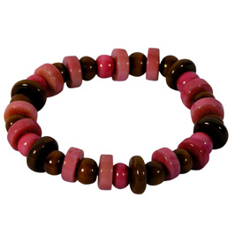 Pink Tagua Disc Bracelet handmade by artisans in Ecuador