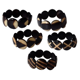 A Variety of Tagua Disc Bracelets from Ecuador
