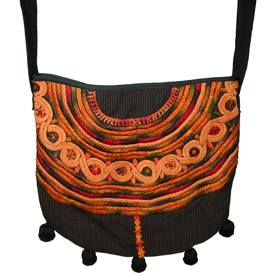 Large Black Joyabaj Shoulder Purse with Ball Fringe <br width=275 > Made from a Recycled-Huipil in Guatemala<br>Measures: 12-1/2 high x 12-1/2 wide and 23-1/2 drop