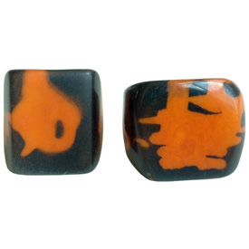 Black and Orange Tagua Ring Made in Ecuador SIze 6, 7, 8 and 9. Rings are a natural Product Dimensions will vary