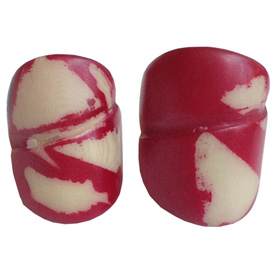 Red and Cream Tagua Ring Made in Ecuador SIze 6, 7, 8 and 9. Rings are a natural Product Dimensions will vary