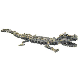 Alligator Junkyard Critter Crafted by Artisans in India  Measures: 2-1/2 high x 13-1/2 long x 5 wide
