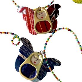 Pop Top Large Angel Garland  handmade in Guatemala Garland Measures - 37 Long