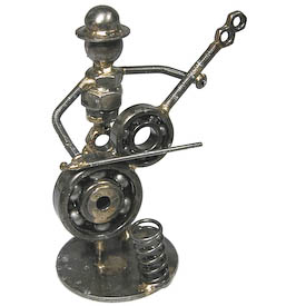 Cello Player / Pen Holder Junkyard Critter Crafted by Artisans in India   Measures: 5 high x 3-1/2 wide x 2-1/2 deep