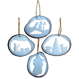 Tagua Nut Holiday Ornament Slices from Ecuador  Average Measurement - 1 3\8 high x 1 5/8 wide x 1/8 thick