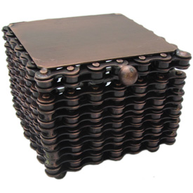 Square Box made from Recycled Bicycle Chain dimensions 3-3/8 wide x 2-3/4 high