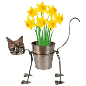 """Curious Cat Plant Stand  Crafted by Artisans in India  Measures 12-1/2"""" high x 11"""" wide x 15-1/2"""" long"""