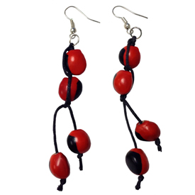 "Long Huayruro Macho Seed Earrings  Crafted by Shipibo Artisans in Peru  Measure 1-1/2"" Long, with Black Cording"