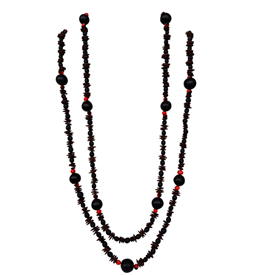"Black Seed Necklace with Red Seed accents  Crafted by the Shipbo in Peru  Measures 58"" in length"