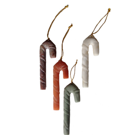 Stone Candy Cane Ornaments from Peru