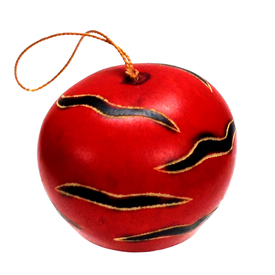 Red Gourd with black Horizontal Strips Ornament crafted by Artisans in Peru