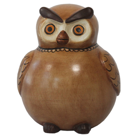 "Brown Owl Bank, crafted by Artisans in Peru   Measures 5"" high x 4-1/4"" wide diameter"