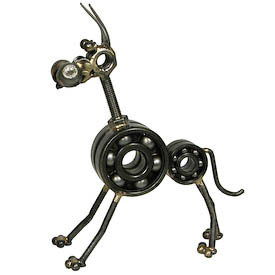 Great Dane Junkyard Critter Crafted by Artisans in India  Measures: 5-1/4 high x 1-3/4 wide x 4-3/4 deep