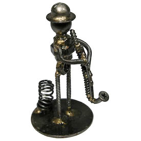 """Saxophone Player Junkyard Pen Holder Crafted by Artisans in India  Measures: 4-1/2"""" high x 2-1/4"""" wide x 2-1/4"""" deep"""