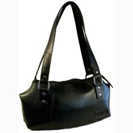Ada - Recycled Tire Tube Handbag Measures: 12 wide x 7 high x 3 deep.