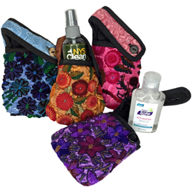 Guatemala Large & Small Hand Sanitizer Pouches   Small Measures: 5 high x 3-1/2 wide  Large Measures: 5-1/2 high x 4 wide