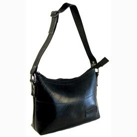Adela - Small Recycled Tire Tube Handbag w/ Adjustable Strap   Measures: 10 in. wide x 7 in. high x 3-1/2 in. deep.
