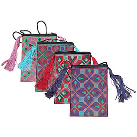 """Tasseled Shoulder Bag with Cross Stitch from Artisans in Afghanistan   Measures: 8 high x 5-3/4 wide x 3/4 deep with a 23"""" drop"""