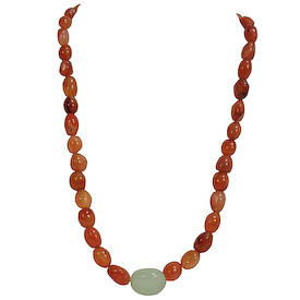 "Carnelian Bead Necklace with Green Egg Center crafted by Artisans in Afghanistan   Measures 18-1/2"" in length, secured with a lobster clasp and 2"" extender"