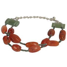 "Carnelian Bead Bracelet with Green Fluorite Spacers crafted by Artisans in Afghanistan   Double Strand, Measures 7-1/4"" in length with a 2"" extender, secures with a lobster clasp"