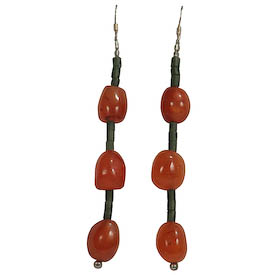 "Carnelian Bead Earrings with Green Fluorite Spacers crafted in Afghanistan Measure ~ 3"" in length with sterling silver hooks"